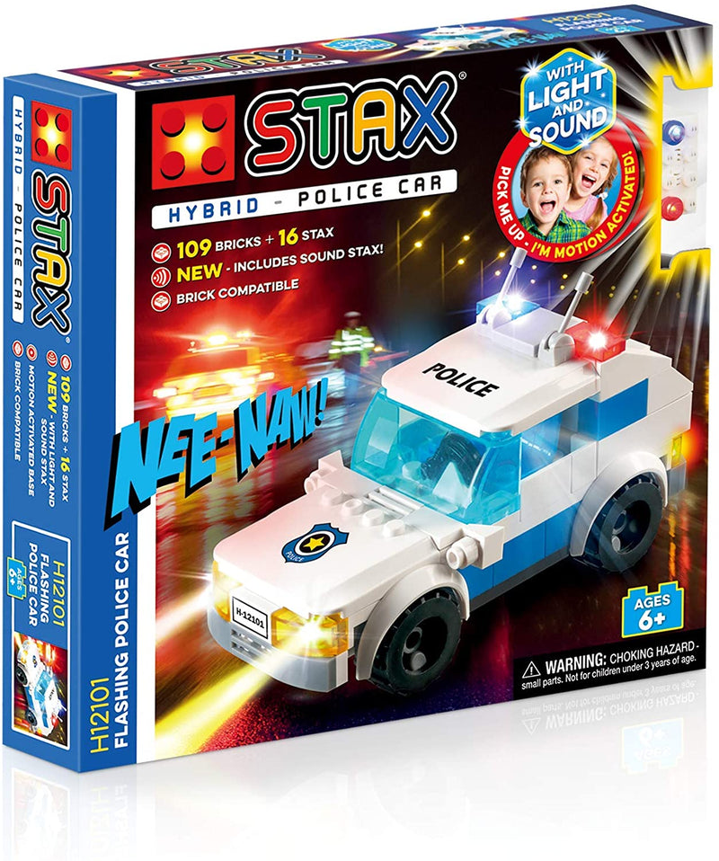 Light Stax Hybrid Light and Sound Flashing Police Car Building Bricks and Stax Set