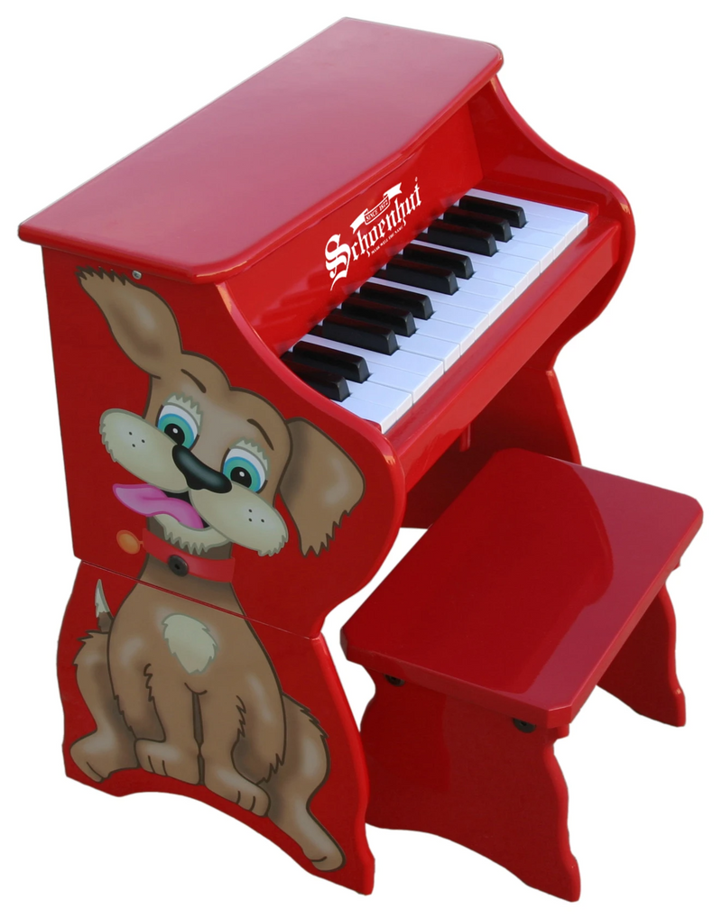Schoenhut Children's Piano Pals, Dog w/ Bench 25-Key Red