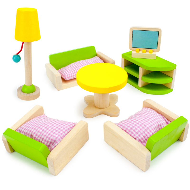 Luxurious Living Room Set, Wooden Dollhouse Furniture