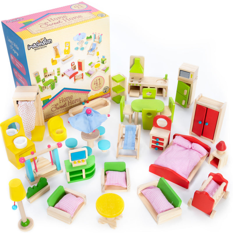 The Fully Furnished Bundle: 5 Sets of Colorful Wooden Dollhouse Furniture, 41 Pieces