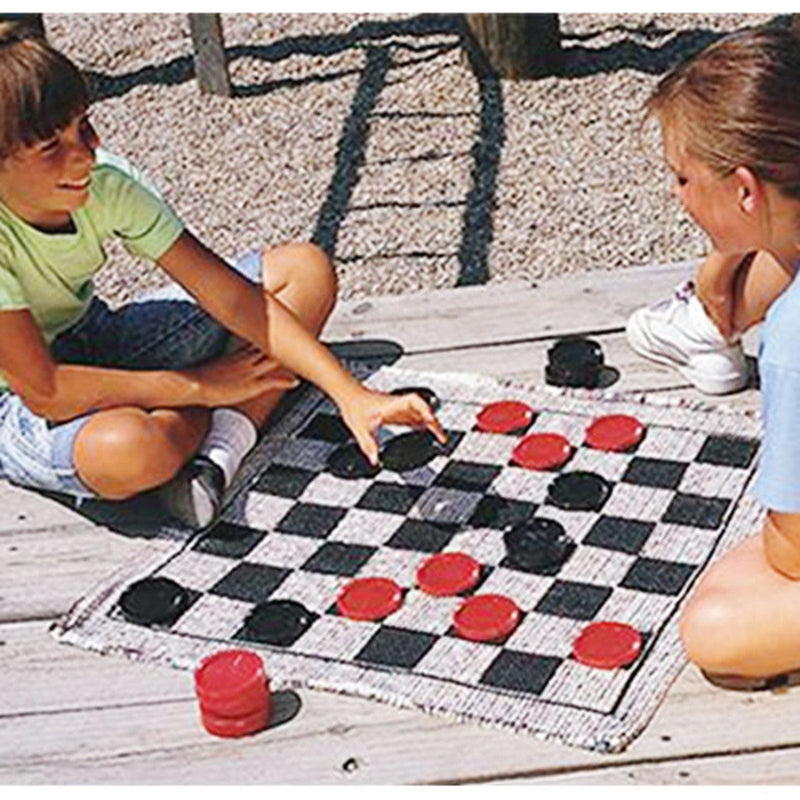 Giant 3-In-1 Checkers & Mega Tic Tac Toe With Reversible Rug - Juniper Days