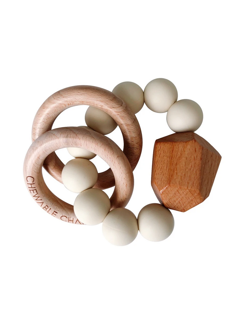 Hayes Silicone + Wood Teether Ring, Cream