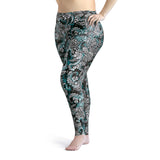 Plus Size Electric Blue Octofloral Leggings