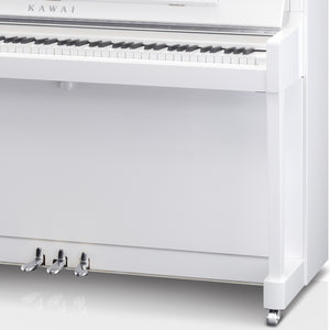 Kawai K300 ATX3 Anytime Silent Upright Piano; Snow White Polished & Silver
