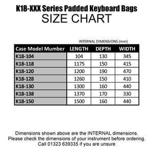Stagg Music K18-150 150cm Deluxe Padded Keyboard Bag