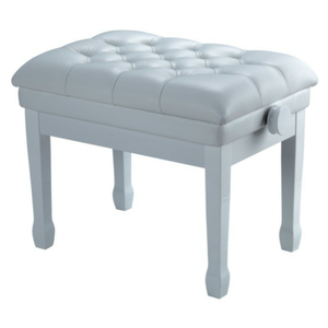 Nocturne Concert Adjustable Height Faux Leather Button Top Piano Stool; Polished White