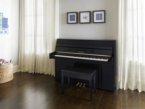 Yamaha B1 SC2 Silent Upright Piano; Polished Ebony