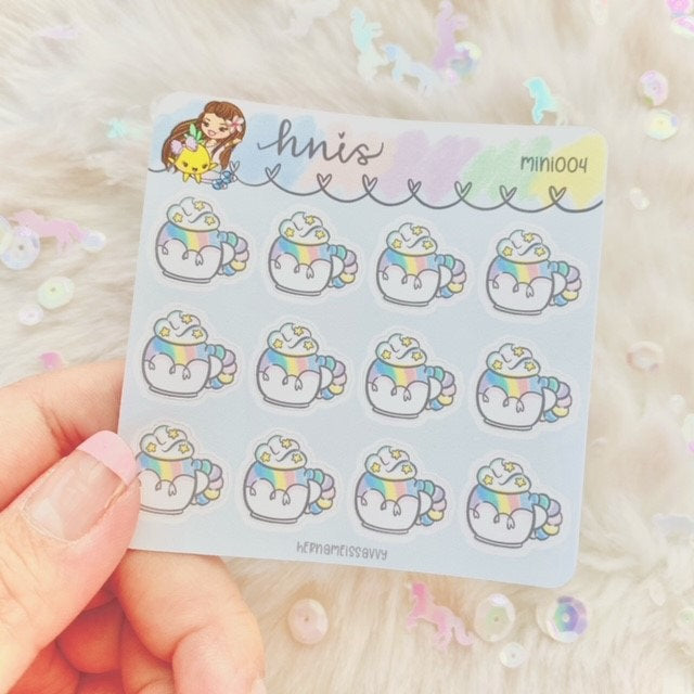 MINI004 - Cozy Mugs (12 Stickers) || Ready To Ship || hernameisSavvy || Premium Sticker Paper | Planner Stickers || handlettered