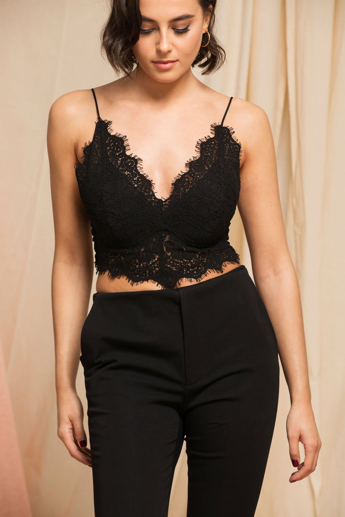 """The Jayne"" - Bralette Top (Black)."
