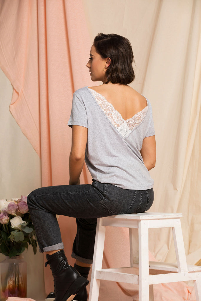 """The Sophie"" - Lace Back Detail Round Neck T-shirt grey ."
