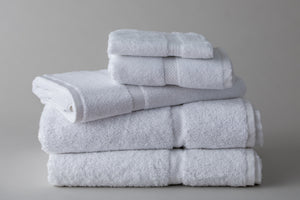 Thomaston Mills White Royal Suite Dobby Towels Folded and Stacked