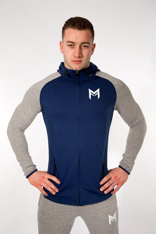 MFit Hoodie <br> Blue/Grey - Muscle Fitness Factory