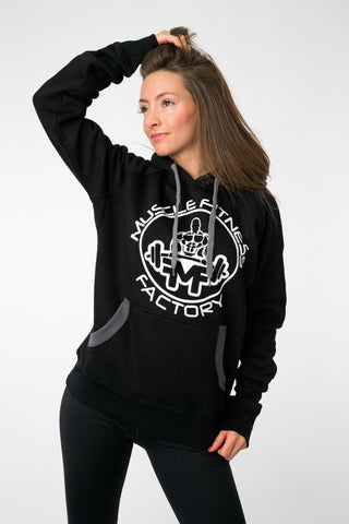 MFF Womens Hoodie <br> Black/Dark Grey - Muscle Fitness Factory