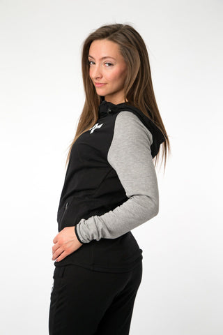 MFit Womens Hoodie <br> Black/Grey - Muscle Fitness Factory