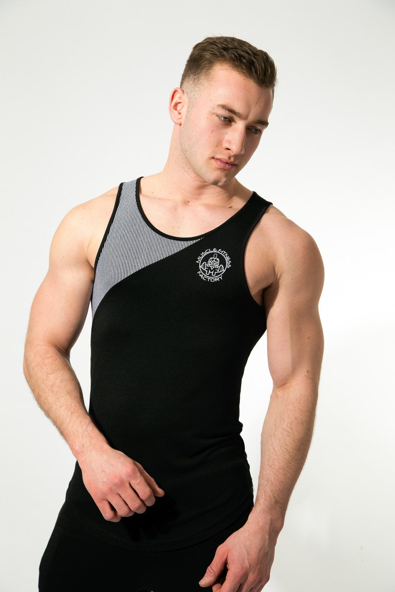 MFF Zeus Stripe Tank <br> Black/White - Muscle Fitness Factory