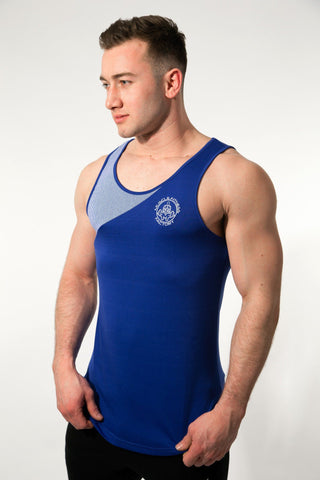 MFF Zeus Stripe Tank <br> Blue/White - Muscle Fitness Factory