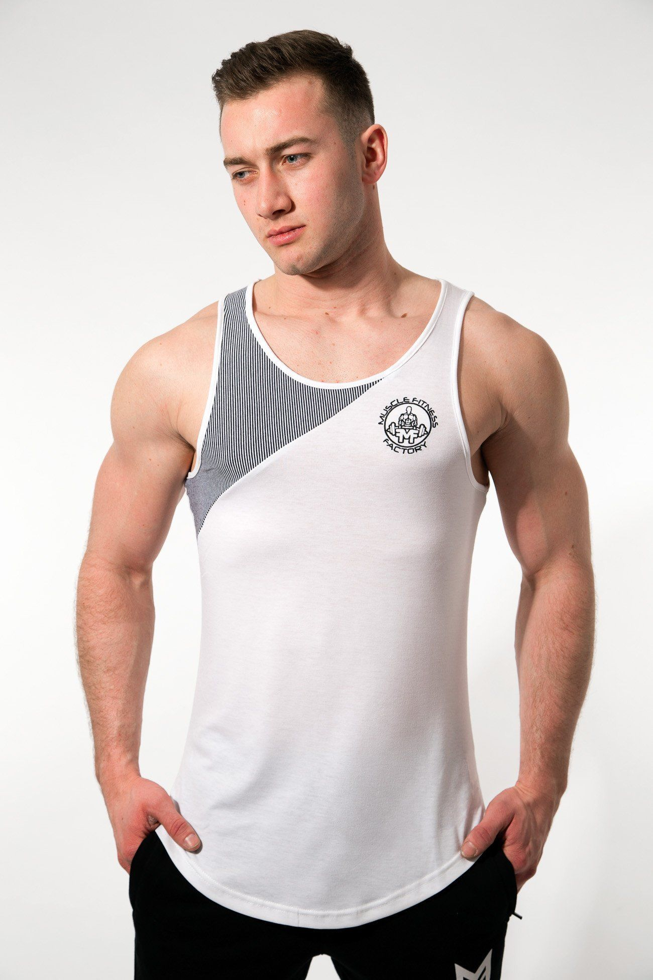 MFF Zeus Stripe Tank <br> White/Black - Muscle Fitness Factory