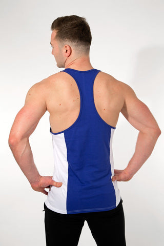 MFF 2Tone Stringer <br> White/Navy - Muscle Fitness Factory