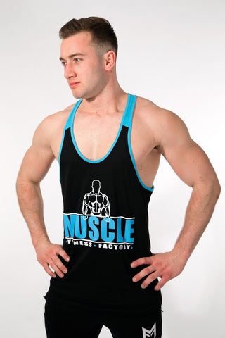 MFF 2Tone Stringer <br> Black/Blue - Muscle Fitness Factory