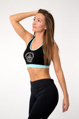 MFF Core Sports Bra <br> Black/Blue - Muscle Fitness Factory