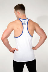 MFF Spartan Stringer <br> White/Navy - Muscle Fitness Factory