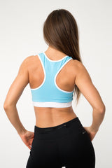 MFF Core Sports Bra <br> Blue/White - Muscle Fitness Factory