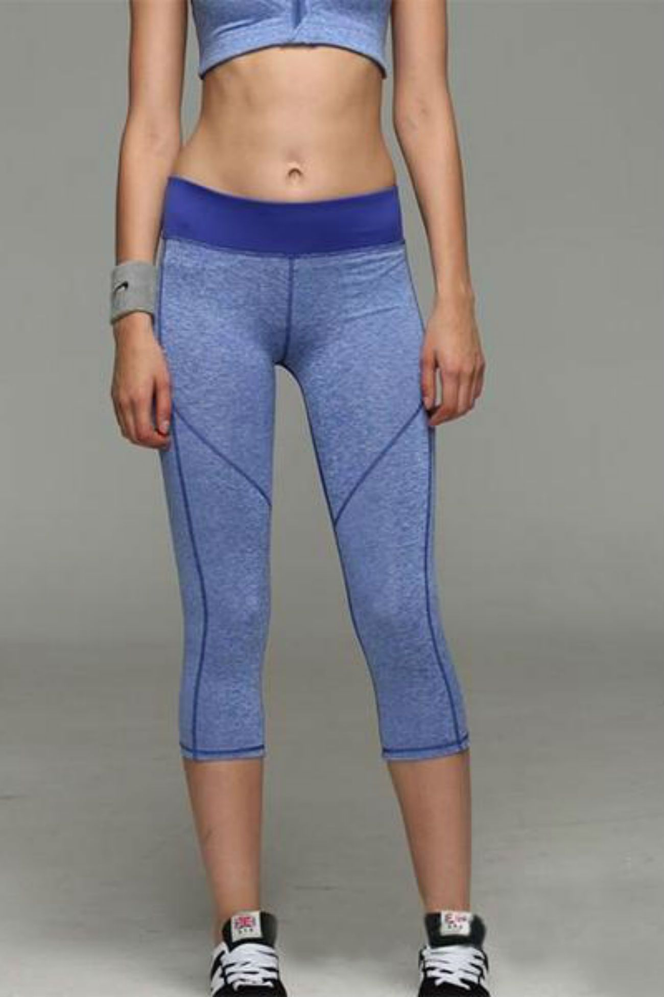 Allure Two Tone Pocket Leggings <br> Blue - Muscle Fitness Factory