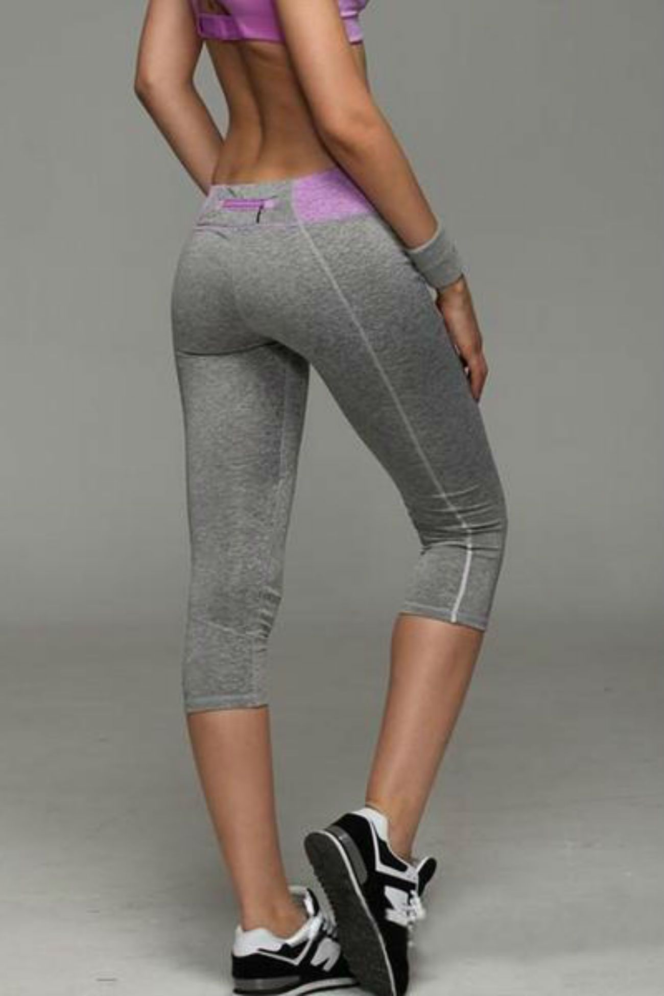 Allure Two Tone Pocket Leggings <br> Purple - Muscle Fitness Factory