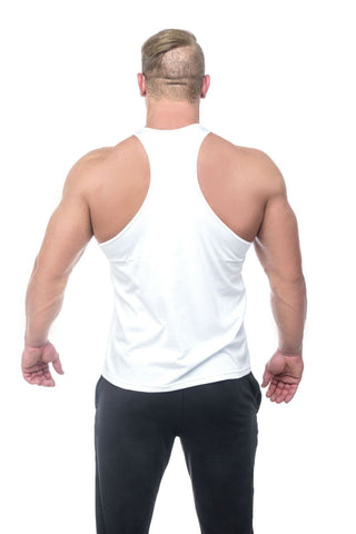 Beast Mode Stringer <br>White - Muscle Fitness Factory