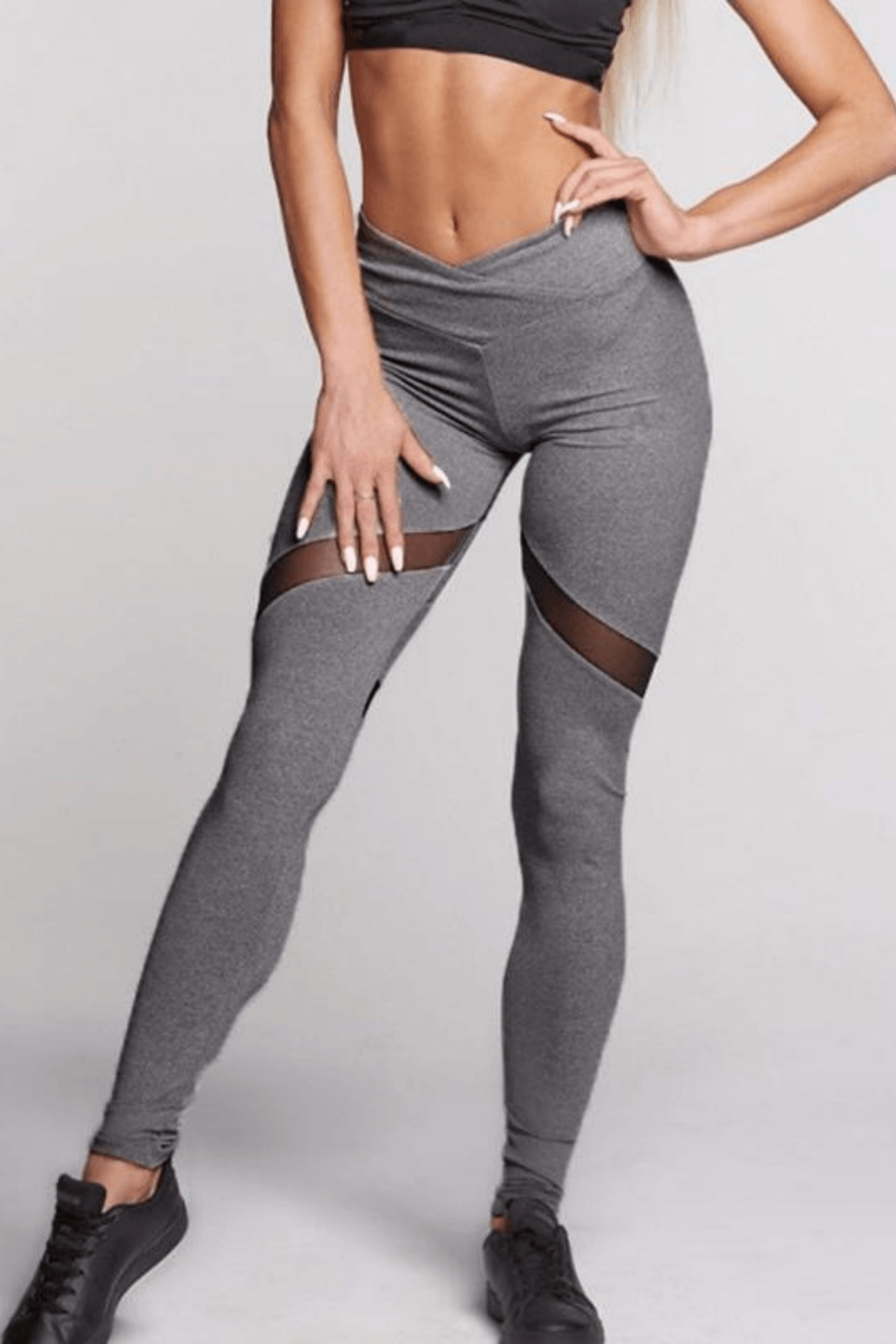 Performance Mesh Booty Heart Leggings<br> Grey - Muscle Fitness Factory