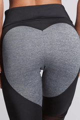 Performance Mesh Booty Heart Leggings<br> Black - Muscle Fitness Factory