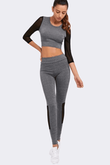 Athena Long Sleeve Crop Top Fitness Set <br> Grey - Muscle Fitness Factory