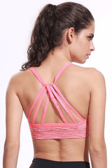 Performance Strappy Back Sports Bra <br> Coral