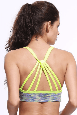 Performance Strappy Back Sports Bra <br> Green - Muscle Fitness Factory