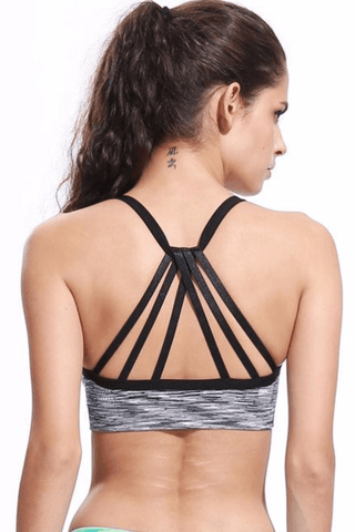 Performance Strappy Back Sports Bra <br> Black - Muscle Fitness Factory