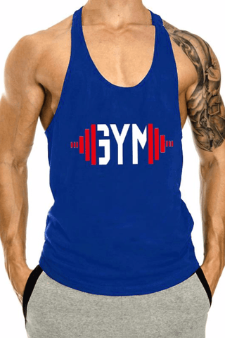 Swole Gym Stringer <br> Blue - Muscle Fitness Factory