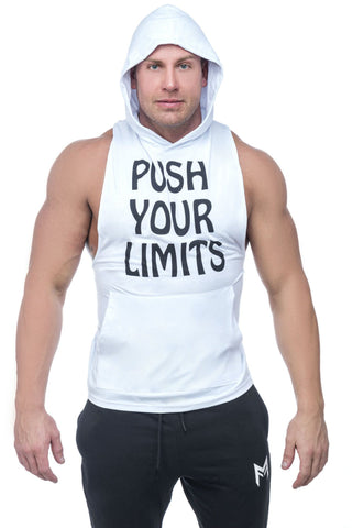 Limitless Hooded Tank <br>White - Muscle Fitness Factory