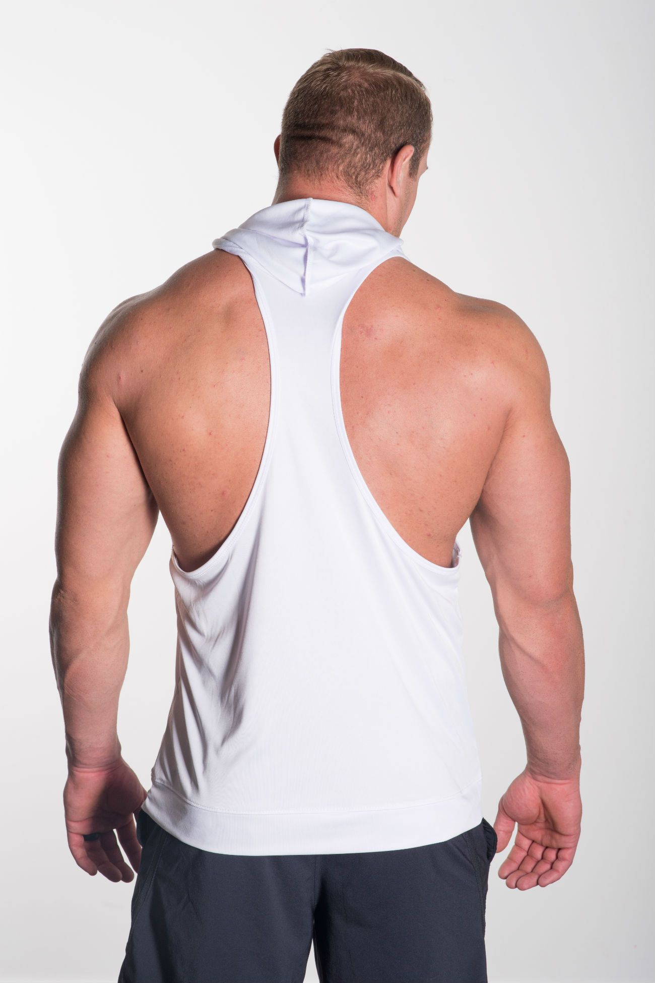 MFF Intensity Hooded Tank<br>White - Muscle Fitness Factory