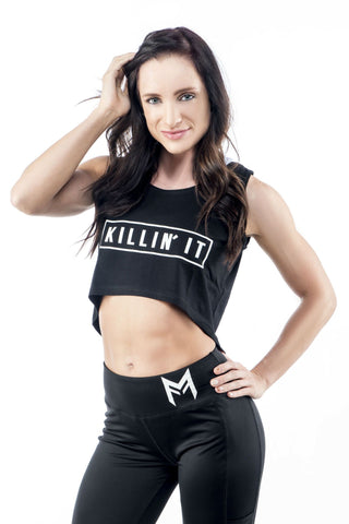 Killin' It Crop Top <br> Black - Muscle Fitness Factory
