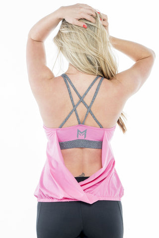 MFF Cross Back Tank<br>Pink - Muscle Fitness Factory