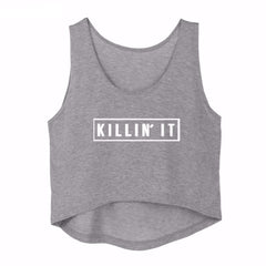 Killin' It Crop Top <br> Grey - Muscle Fitness Factory