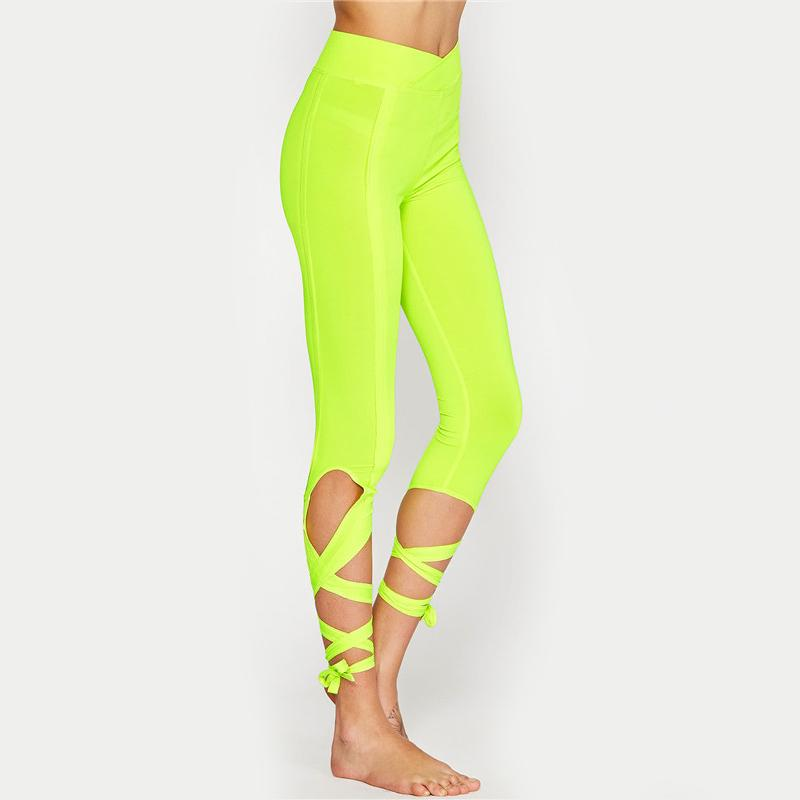 Allure Criss Cross Leggings <br> Yellow - Muscle Fitness Factory