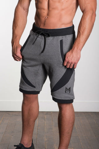 MFit Performance Shorts<br>Grey/Black - Muscle Fitness Factory