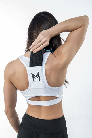 MFit Pocket Back Sports Bra <br> White - Muscle Fitness Factory