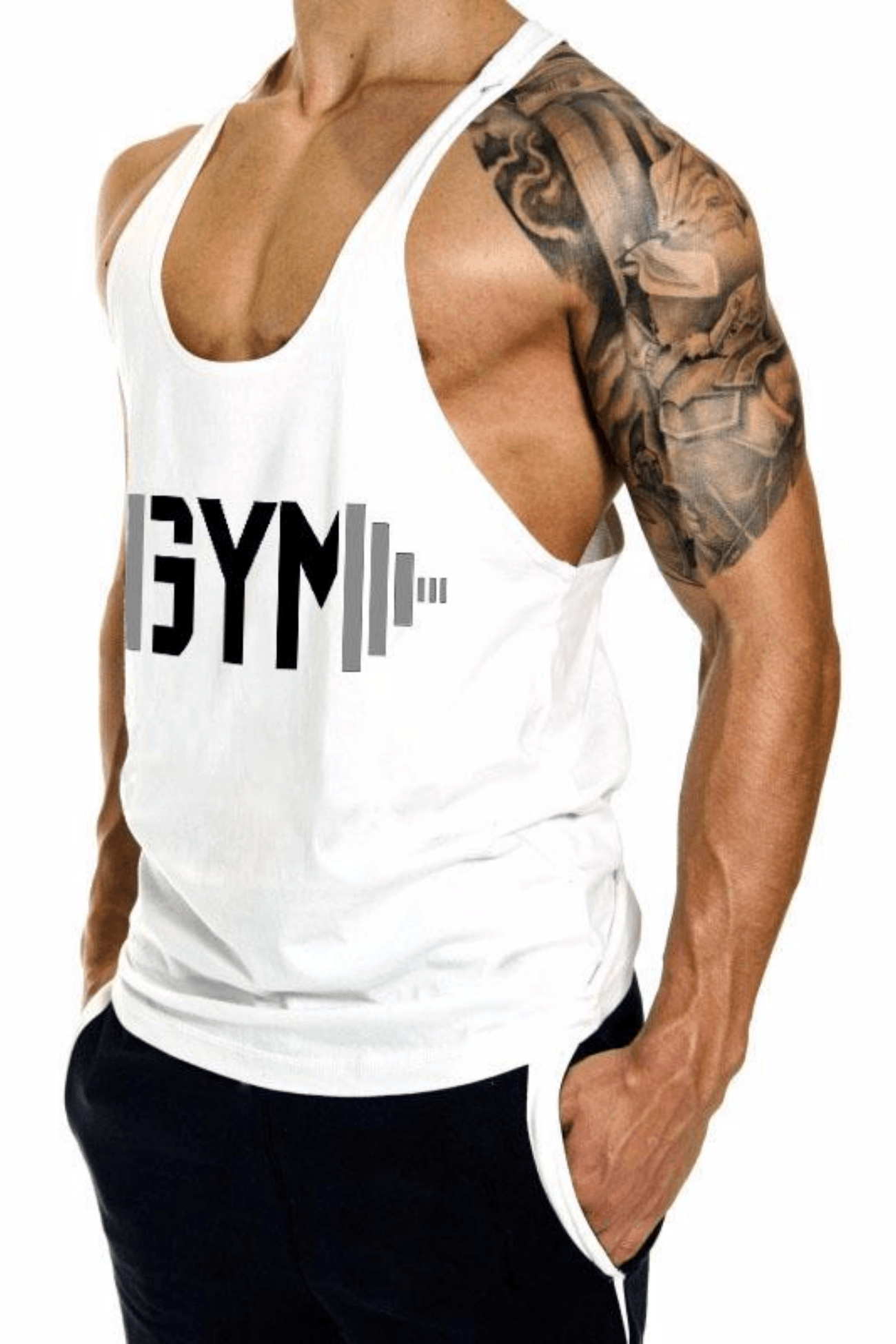 Swole Gym Stringer <br> White - Muscle Fitness Factory