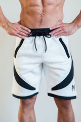 MFit Performance Shorts<br>White/Black - Muscle Fitness Factory