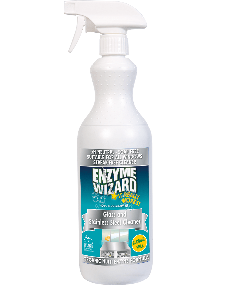 Glass & Stainless Steel Cleaner 1 Litre Spray Enzyme Wizard
