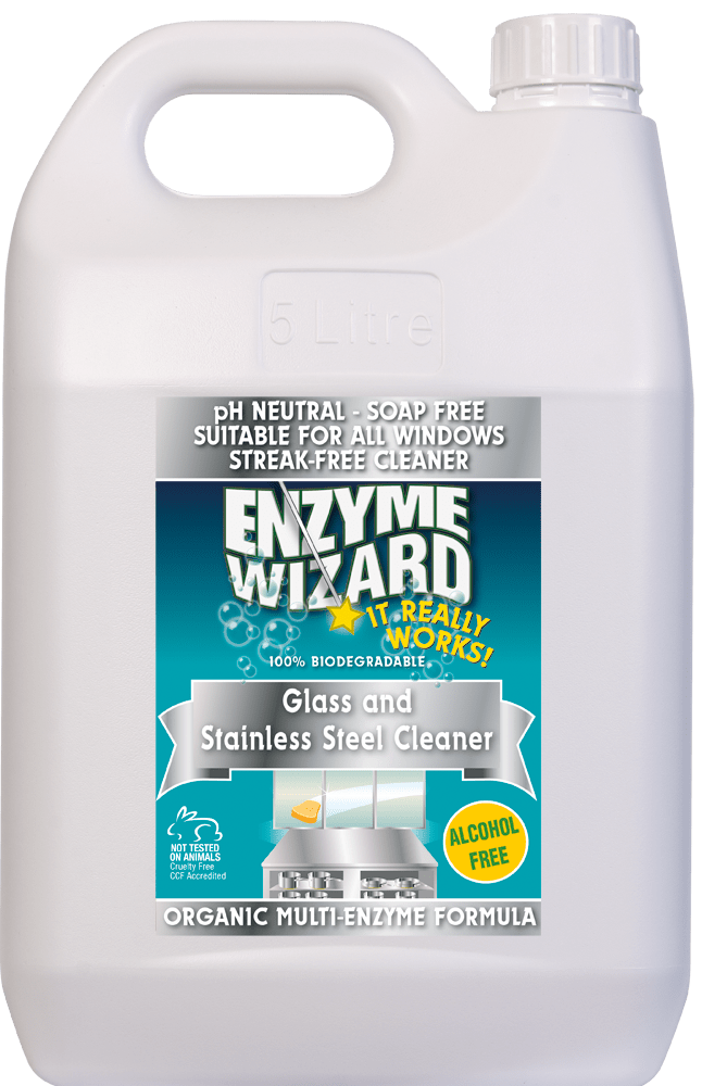 Glass & Stainless Steel Cleaner 5 Litres Enzyme Wizard