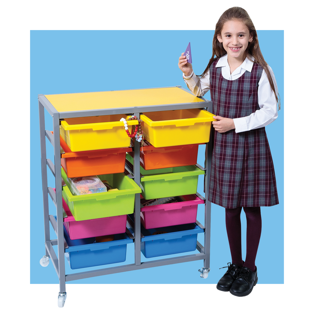 Double Tote Tray Trolley with Reversible Coloured Top