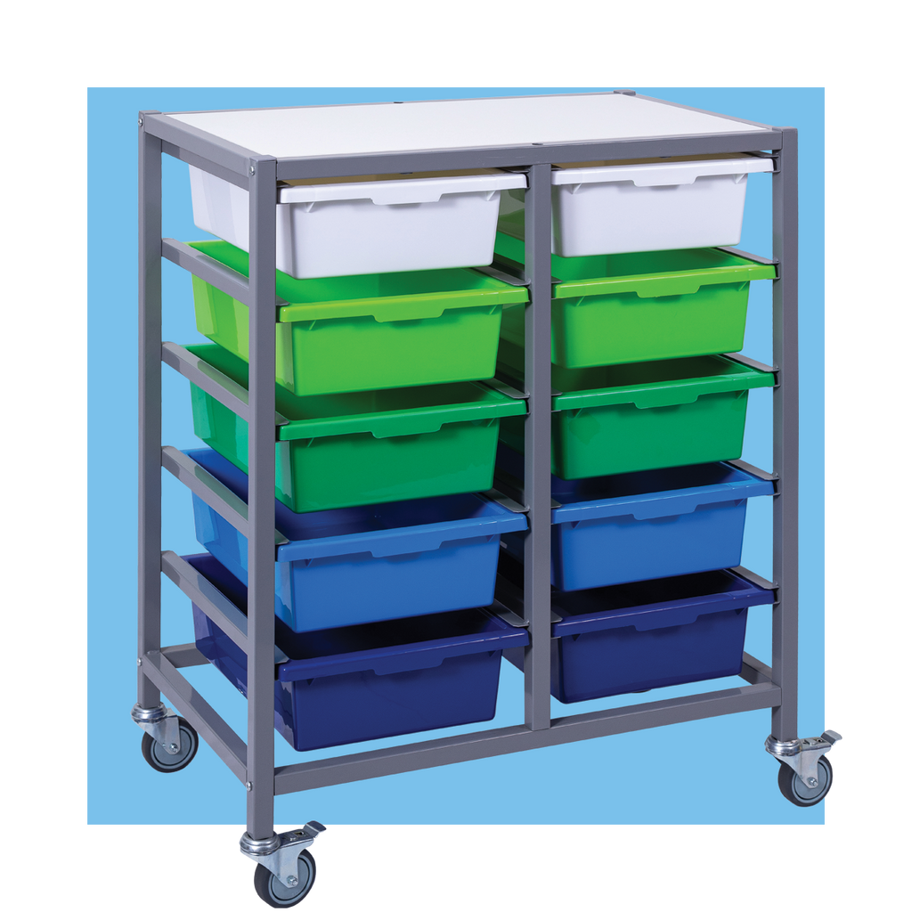 Double Tote Tray Trolley with 10 trays